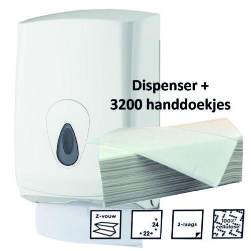 Handdoekpapier dispenser + Z-gevouwen handdoekjes 2 laags 3200 stuks
