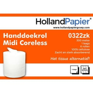 Midi poetsrollen 1 laag coreless cellulose ROVEQ