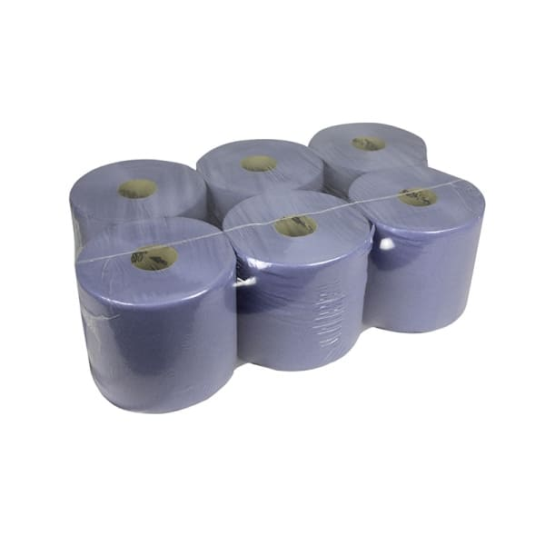 Pallet blauwe midi poetsrollen 1 laags centerfeed recycled
