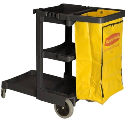 Rubbermaid werkwagen met gele zak