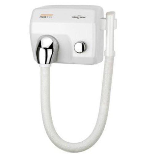 Haardroger wit met slang en drukknop Mediclinics