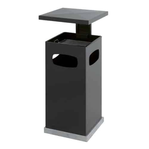 Stalen As-papierbak met afneembaar afdak 70 liter antraciet