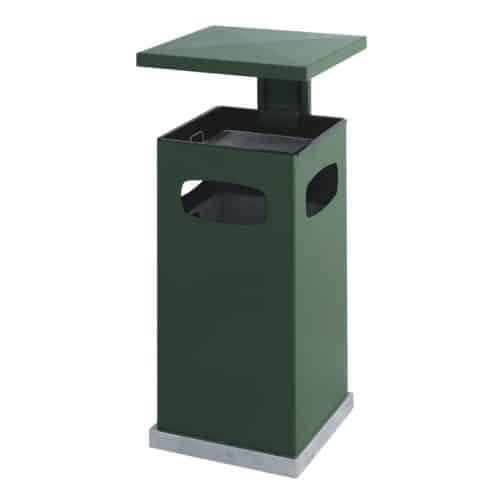 Stalen As-papierbak met afneembaar afdak 70 liter groen