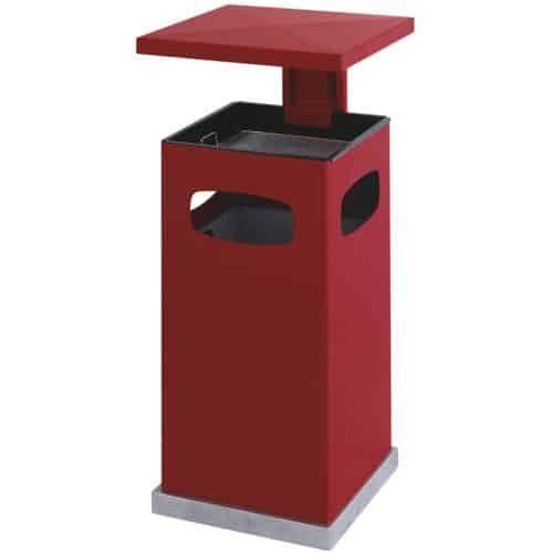 Stalen As-papierbak met afneembaar afdak 70 liter rood