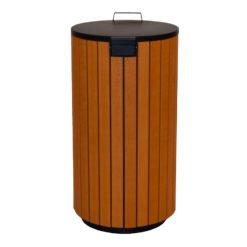 Buitenafvalbak robuust 90 liter houtlook met deksel