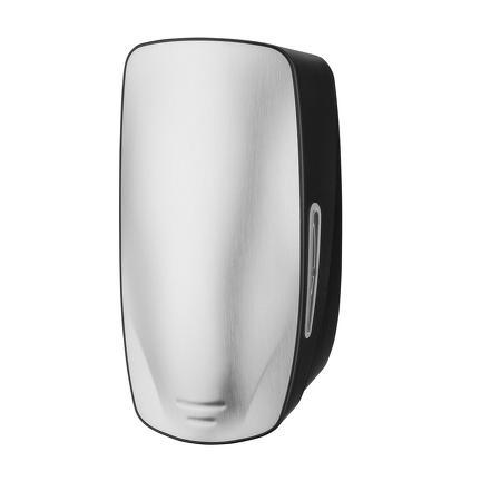 Foamzeepdispenser 800ml POUCH RVS voorzijde kunststof zijkanten Zwart - PlastiQline Exclusive