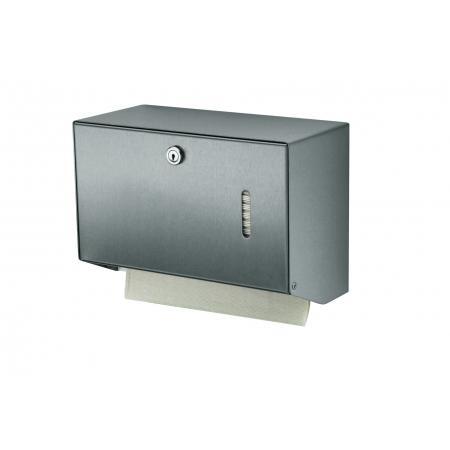 Handdoekdispenser klein RVS , RVS achterplaat en kunststof uitneemplaatje - MediQo-line
