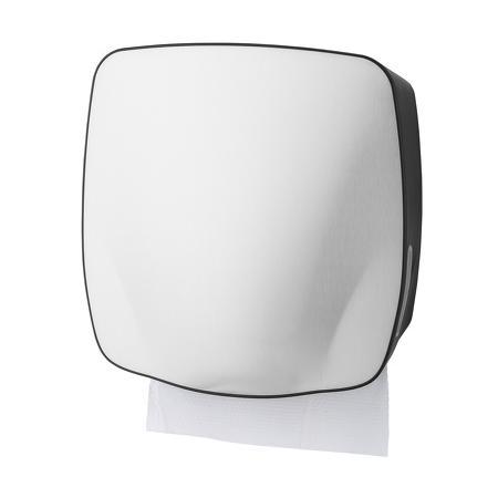 Handdoekdispenser RVS voorzijde, kunststof zijkanten Zwart - PlastiQline Exclusive