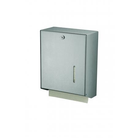 Handdoekdispenser Aluminium, RVS achterplaat en kunststof uitneemplaatje Matzilver - MediQo-line