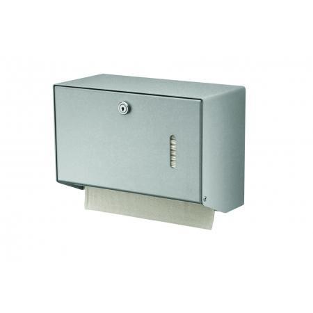 Handdoekdispenser klein Aluminium, RVS achterplaat en kunststof uitneemplaatje Matzilver - MediQo-line