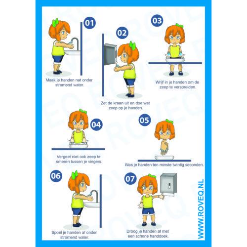 Handenwas instructie sticker kinderen a5