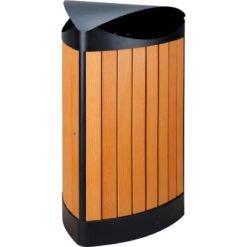 Stalen buitenafvalbak houtlook 60 liter