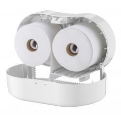 Toiletpapierdispenser 2rol breed kunststof wit PlastiQline open