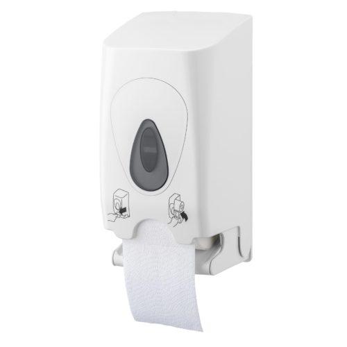 Toiletpapierdispenser 2rol hoog kunststof wit PlastiQline