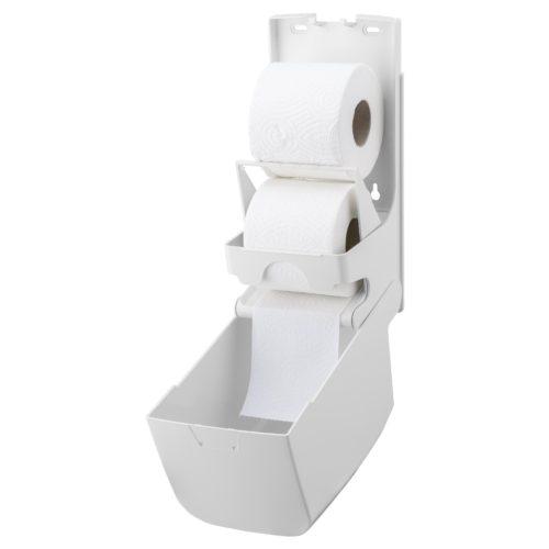 Toiletpapierdispenser 2rol hoog kunststof wit PlastiQline open