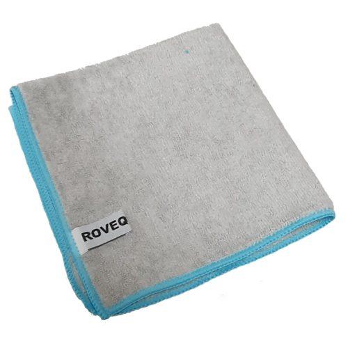 ROVEQ Microvezeldoek 40x40cm – grijs met blauwe rand