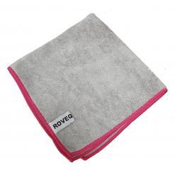 ROVEQ Microvezeldoek 40x40cm – grijs met rode rand