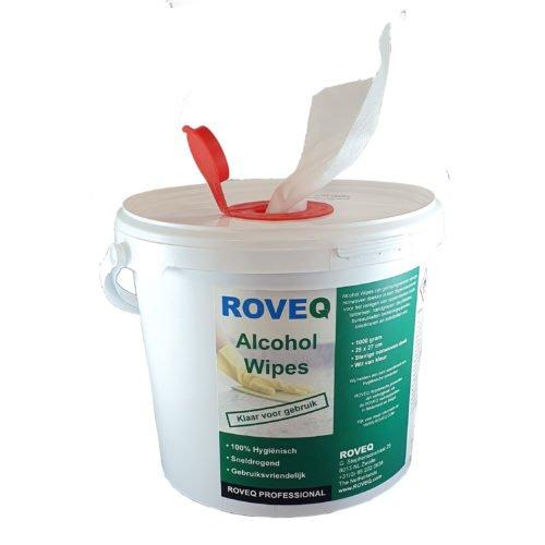 Grote emmer alcohol doekjes 1000 gram geïmpregneerd nonwoven 25x27cm