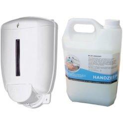 Navulbare zeepdispenser 1 liter + 5 liter handzeep