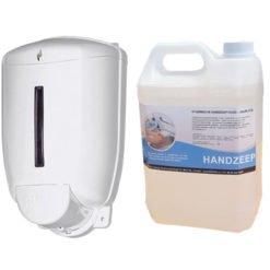 Navulbare zeepdispenser 1 liter + 5 liter handzeep FOOD