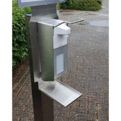 Hoogwaardig RVS Dispenserzuil op wielen compleet met dispenser.1