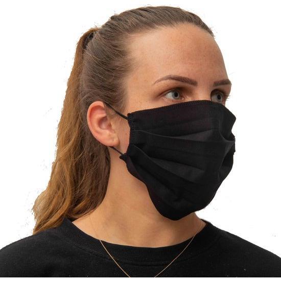 Mondmasker mondkapje 2 laags herbruikbaar Wasmachinebestendig 60-graden – BTW VRIJ- Zwart