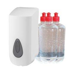 Navulbare dispenser 900ml met 3 x 1 liter Handgel 70%