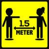 Vloersticker houd afstand 44x44cm antislip indoor