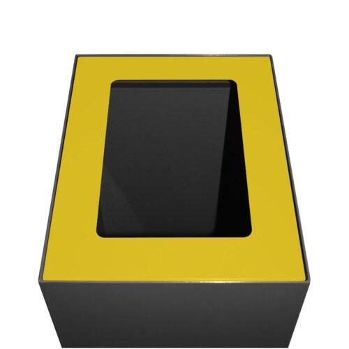 Afvalbak koppelbaar - afvalscheidingsunit - bak 60 liter met gele markering