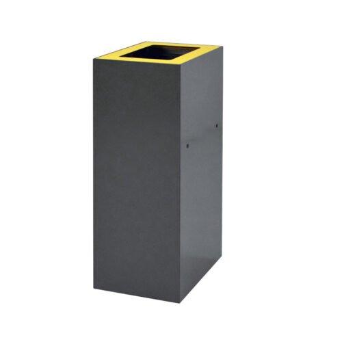 Afvalbak koppelbaar - afvalscheidingsunit - bak 60 liter met gele zwmarkering