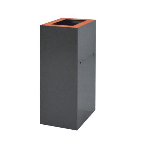 Afvalbak koppelbaar - afvalscheidingsunit - bak 60 liter met oranje zwmarkering