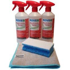 3 x ROVEQ Hygiënische spray 750ml- met gratis doek en spons